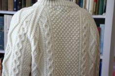 Salt Water New England: An Aran Sweater Market Cardigan, Beautifully Handknit in Ireland.  A flawless garment in the classic Aran color, this has the Irish Moss Stitch in the middle.
