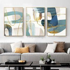 Gold Abstract painting acrylic paintings on canvas huge size original painting 3 pieces Wall Art hand painted Home Decor cuadros abstractos Frames On Wall, Framed Wall Art, Rock Kunst, 3 Piece Wall Art, Wall Art Pictures, Acrylic Painting Canvas, Acrylic Art, Abstract Wall Art, House Painting
