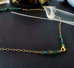 Chryzoprase and ilolite necklace with gold filled chain