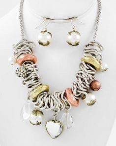 Tri-tone Metal / Cream Synthetic Pearl & Tri Color Ccb (bead) / Clear Acrylic / Lead Compliant / Heart Charm / Necklace & Fish Hook Earring Set