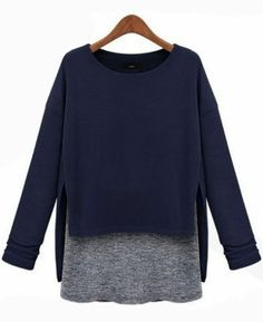 Blue Long Sleeve Contrast Asymmetrical Loose T-Shirt pictures