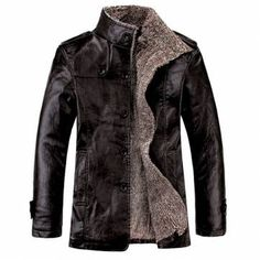 Men's Quality PU Leather Slim Fit Plush Lining Warm Jacket at Banggood