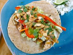 Thai chicken tacos with spicy peanut drizzle