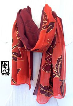 Silk Scarf Reversible. Silk Scarves Takuyo. by SilkScarvesTakuyo, $175.00