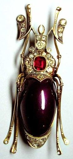 Fabergé Beetle Brooch. Gold, silver, diamonds, a ruby, enamel. 1908 – 1917. St. Petersburg, Russia.