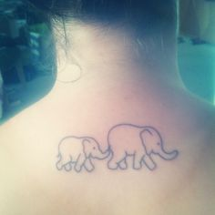 elephant tattoo    Two elephant babies? With initials small   Then I can add when and if we have more babies :)    But different location not neck