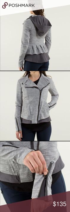 LULULEMON Grey Bust A Move JacketEUC!! Pre-loved. Color: Commuter denim silver spoon slate/soot light. Stretchy sweat wicking material. It has a removable hood with reflective detail, and flared back hem that allows you to move freely. Underarm vents, imported, inside pocket. Material: warpstreme- zip it up tight or wear loose.  This has to be by far my favorite Lululemon jacket! It is high-quality with a beautiful design. Rare find, size 8, VERY lightly worn. I wear an 8/10 and it fits me…