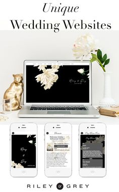 """Camellia"" floral wedding website design example from Riley & Grey. Click through to view this and other customizable, limited-edition, luxury templates. (wedding planning, wedding app, save the date, invitations, modern wedding)"
