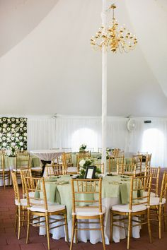 Reception Tent With Gold Chandelier | photography by http://katiestoops.com/