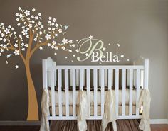 Blowing Cherry Blossom Tree with Monogram Nursery Wall Vinyl.