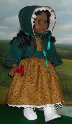 *******1850s Ginger Dress, Jacket and Bonnet for 18 inch Doll via Etsy. This will really be stunning on Cecile at Christmas. Kathy does lovely little touches. I especially love the little buttons on the bodice and the jacket. From SugarloafDollClothes.