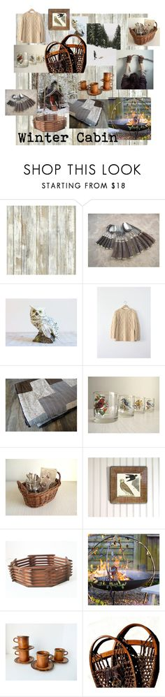 """""""Winter Cabin"""" by gazaboovintage ❤ liked on Polyvore featuring interior, interiors, interior design, home, home decor, interior decorating, RoomMates Decor, rustic and vintage"""