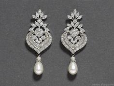 Crystal bridal pearl earrings Long silver chandelier by irenau