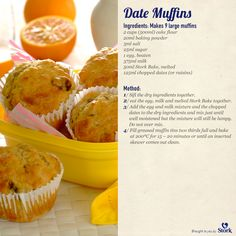Muffin Recipes, Bread Recipes, Baking Recipes, Cake Recipes, Breakfast Recipes, Yummy Yummy, Delicious Recipes, Yummy Food, Date Muffins