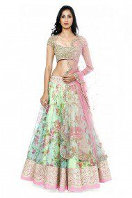 Georgette Party Wear Lehenga Choli in Sea Green Colour