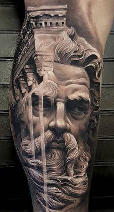 Zeus Tattoo-Made by Arlo DiCristina Tattoo Artists in Colorado, US Region Zeus Tattoo, Hercules Tattoo, Poseidon Tattoo, Statue Tattoo, Hades Tattoo, Full Sleeve Tattoos, Tattoo Sleeve Designs, Leg Tattoos, Body Art Tattoos