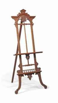 A LATE VICTORIAN OAK GALLERY EASEL LATE 19TH CENTURY