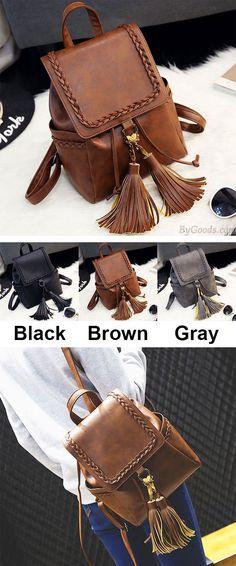 Retro PU Flap Tassels Braid Draw String Weave School Backpack is very hot ! #weave #school #draw #tassel #backpack #bag #rucksack #college #student #school #new #camping #outdoor
