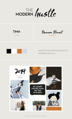 The-Modern-Hustle-Brand--Jenn-Wilson-Design // Mommy Blogger, Blog Design, Brand Board, branding, visual identity