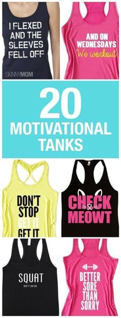 Get motivated to work out with these fitness tanks! #gymwear #fitnessapparel #newyear #newyou
