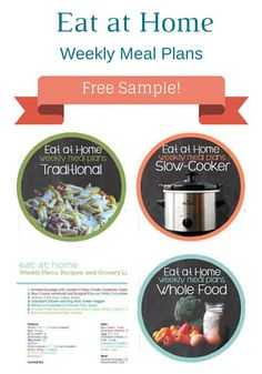 Eat at Home Weekly Meal Plans and Grocery Lists - Get Organized!