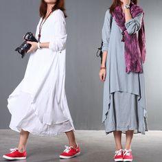 Autumn original linen and cotton dress art maxi dress for women, maxi linen dress fall dress linen women clothing 2015