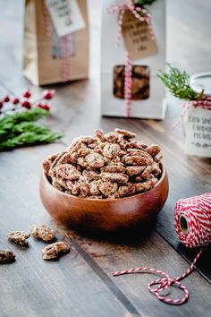 Chai Spiced Candied Pecans are sweet, crunchy and totally delicious! They're perfect for topping salads, desserts, or just munching by the handful. #nuts #pecans