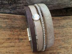 Vierfaches Armband Leder mit Magnetverschluss von Sandra Bormann Design auf DaWanda.com