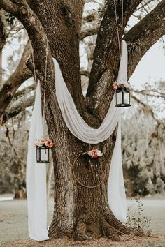 Lush Rustic Jensen Beach Wedding at The Mansion at Tuckahoe Draped white linen, hanging lanterns and floral wreaths created a dreamy rustic feel at this outdoor ceremony Cheap Wedding Decorations, Wedding Centerpieces, Weding Decoration, Wedding Arrangements, Budget Wedding Decorations, Outdoor Tree Decorations, Table Decorations, Backyard Party Decorations, Quince Decorations