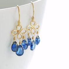 September Birthday Sapphire Blue Gemstone Chandelier by aubepine