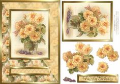Cream Flowers Card Front on Craftsuprint designed by Russ Smith - Part of a new range of card front and decoupage sheets. This sheet uses a beautiful image of golden / creamy flowers in a vase. Add your own greeting or use the one provided. - Now available for download!