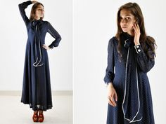 Vintage Hana of London Navy Bow Maxi Dress