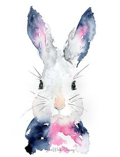 Bunny Watercolor Art Print: Rabbit Wall Art / by SeeWhyZhang