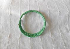 Light green, opaque memory wire bangle