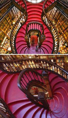 Escaliers de la librairie Lello à Porto, Portugal par Xavier Esteves