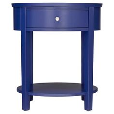 The Eileen End Table from Inspire Q has an eye-catching round shape. The accent table has a fixed shelf plus a drawer for storage. Blue Dresser, Shelf Furniture, Secure Storage, Oval Table, Display Homes, Wood Construction, Wood Veneer, End Tables, Storage Spaces