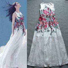 High Quality 2014 Newest Runway Maxi Dress Women's Fashion Brief Print Floral Sleeveless  Long Dress 140609H01 $68.00