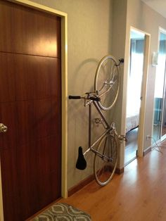 Clever ways to add vertical storage all over your home 35 Bicycle Hanger, Bike Hooks, Bike Shelf, Vertical Bike Storage, Indoor Bike Rack, Indoor Bike Storage, Bike Storage Apartment, Range Velo, Bicycle Store