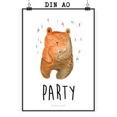 Poster DIN A0 Bär Party aus Papier 160 Gramm  weiß - Das Original von Mr. & Mrs. Panda.  Jedes wunderschöne Poster aus dem Hause Mr. & Mrs. Panda ist mit Liebe handgezeichnet und entworfen. Wir liefern es sicher und schnell im Format DIN A0 zu dir nach Hause. Das Format ist 841 mm x 1189 mm.    Über unser Motiv Bär Party  Der Party Bär ist das ideale Geburtstagsgeschenk aus der Mr. & Mrs. Panda Kollektion. Perfekt für den Menschen der schon alles hat, oder einfach nur ein liebevolles…