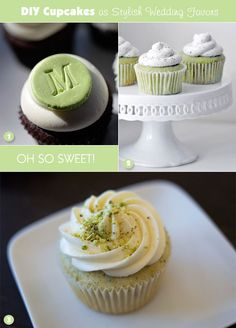 Treats for green-themed sweets table - cupcake flavors in green tea, vanilla, and pistachio Cupcake Favors, Cupcake Cakes, Diy Cupcake, Baking Cupcakes, Yummy Cupcakes, Bakery Recipes, Cupcake Recipes, Yummy Snacks, Delicious Desserts