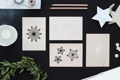 bildschœnes: Holz + Sticken = Weihnachtskarten mal anders