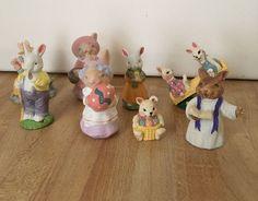 Vintage Lot of 8 Miniature Resin & Ceramic Easter Bunny Figurines