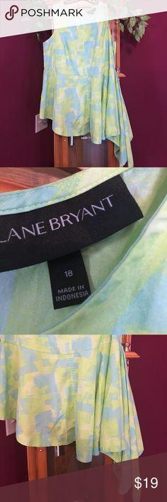 "Lane Bryant asymmetrical top Preowned- total length 30"" to normal hem- 40"" total length to asymmetrical hem- 23"" armpit to armpit- 22"" across waist- lime and blue color scheme Lane Bryant Tops Tank Tops"