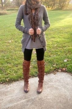solid cardigan (open) + scarf + striped shirt + leggings + tall brown boots