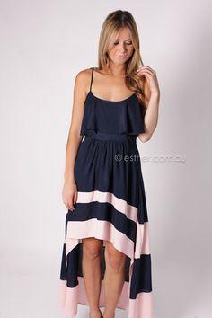cool down hi lo dress - navy pink Esther Boutique 736b690d4