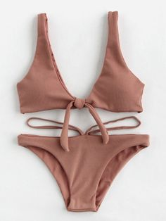 SheIn offers Double Deep Plunge Bow Detail Ribbed Bikini Set & more to fit your fashionable needs. Swimsuits For Teens, Cute Swimsuits, Cute Bikinis, The Bikini, Bikini Set, Bikini Girls, Bikini Ready, Bikini Tops, Summer Bathing Suits