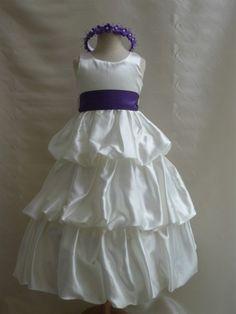 NEW PO3 IVORY PURPLE Wedding Party Easter Flower Girl  Dress 2 4 6 8 10 #Mykidstudio #flowergirldressrecitalweddingfamilyphotoDressyEverydayHolidayPageantWedding