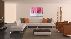 Acryl auf Leinwand & Blattgold 80x60 Skyline, Sofa, Couch, Pink, Furniture, Home Decor, Environment, Abstract, Gold Leaf