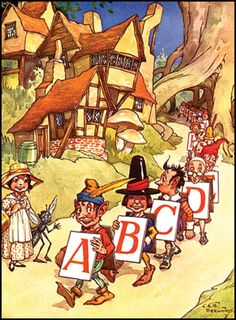 from JOLLY ALPHABETS AND PUZZLES (London: ca 1930), illustration by Albert Kaye.