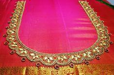 Gold sequins work on pink blouse Best Blouse Designs, Wedding Saree Blouse Designs, Simple Blouse Designs, Blouse Neck Designs, Magam Work Designs, Hand Work Design, Hand Work Blouse Design, Embroidery Neck Designs, Sri Lanka